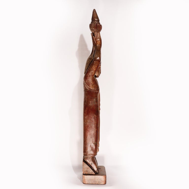 Burmese Carved Wood Hermit Sumedha Buddhist Image, 19th Century For Sale 3