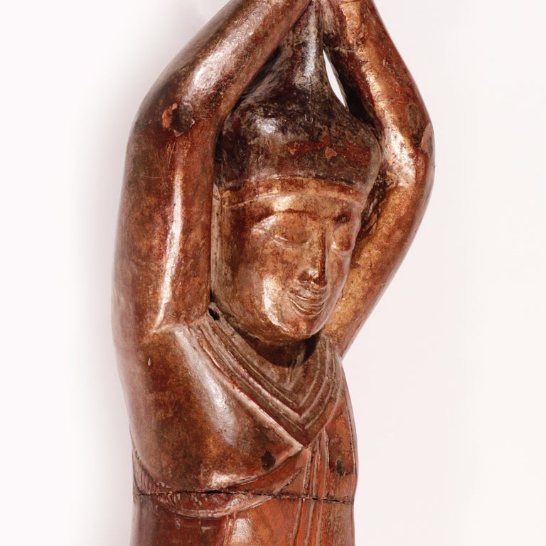 Burmese Carved Wood Hermit Sumedha Buddhist Image, 19th Century For Sale 5
