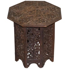 Burmese circa 1900 Anglo-Indian Hardwood Side End Wine Table Ornately Carved