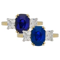 Burmese Color Change Sapphire and Diamond Three-Stone Ring, circa 1950