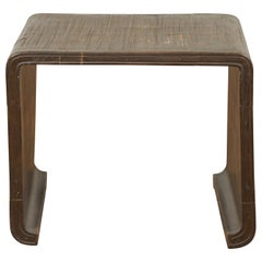 Burmese Contemporary Waterfall Side Table with Opium Mat Top and Horsehoof Feet