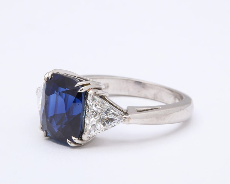 Burmese Cushion Cut Sapphire Trillion Cut Diamond Platinum Ring In Good Condition For Sale In New York, NY