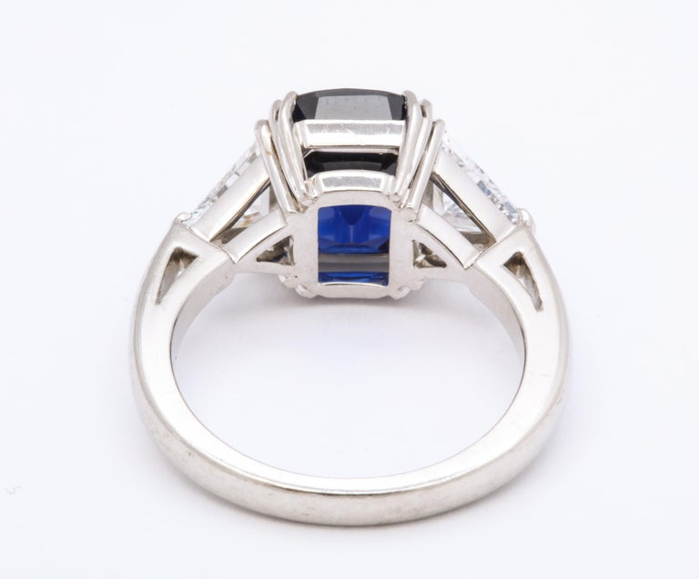 Women's Burmese Cushion Cut Sapphire Trillion Cut Diamond Platinum Ring For Sale