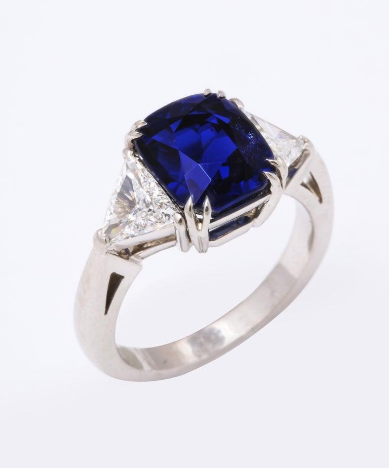 Burmese Cushion Cut Sapphire Trillion Cut Diamond Platinum Ring For Sale 2