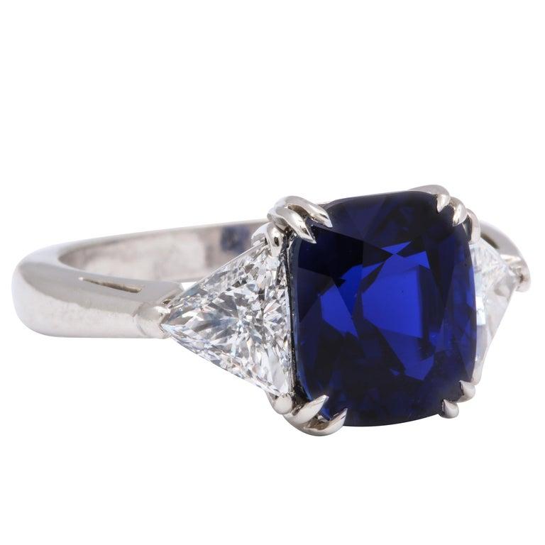 Burmese Cushion Cut Sapphire Trillion Cut Diamond Platinum Ring For Sale