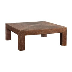 Burmese Dark Brown Rattan Parsons Leg Coffee Table Hand-Stitched over Wood