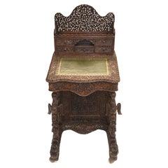 Burmese Davenport Desk Antique Hand Caved Burma Furniture, 1885