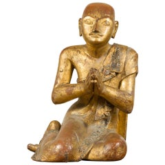 Burmese Giltwood and Hand Carved Sculpture of Seated Buddhist Monk with Inlay