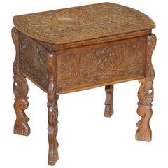 Burmese Hand Carved Peacock Sewing Table Cupboard Chest Open Top, circa 1880