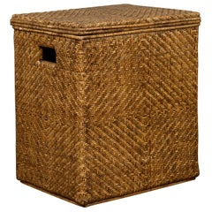 Burmese Handwoven Rattan Storage Box Hamper with Pierced Handles