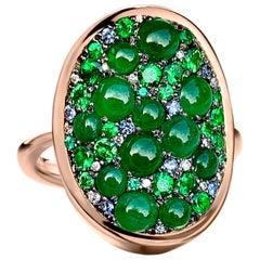 Burmese Jadeite, Tsavorite, No Heat Blue Sapphire, Emerald and Diamond Pave Ring