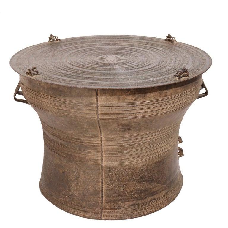 Cast Burmese Karen Bronze Frog Drum For Sale