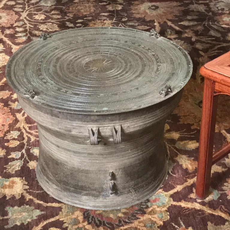 Burmese Karen Bronze Frog Drum For Sale 4