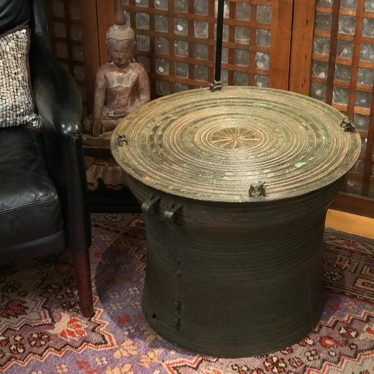 Burmese Karen Bronze Frog Drum For Sale 10