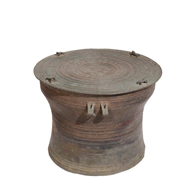 Tribal Burmese Karen Bronze Frog Drum For Sale