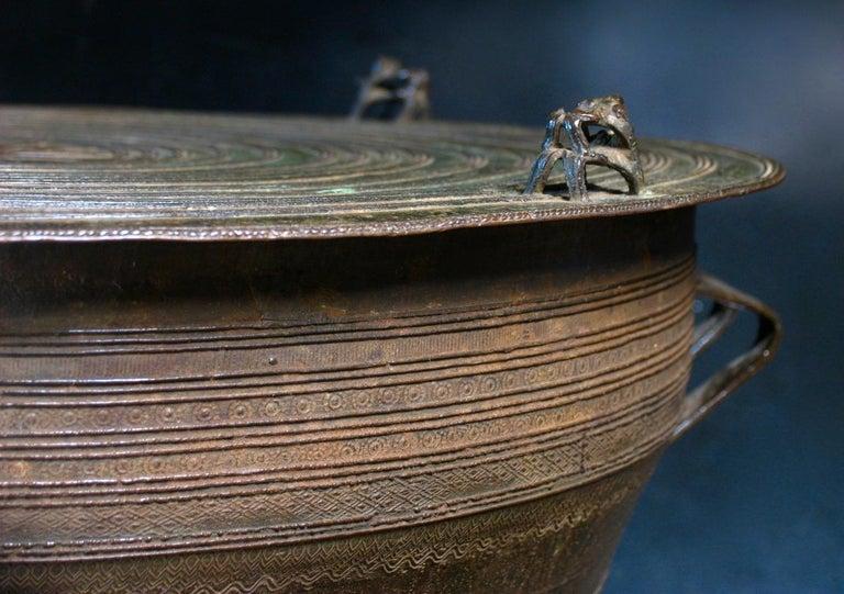 Burmese Karen Bronze Frog Drum For Sale 2