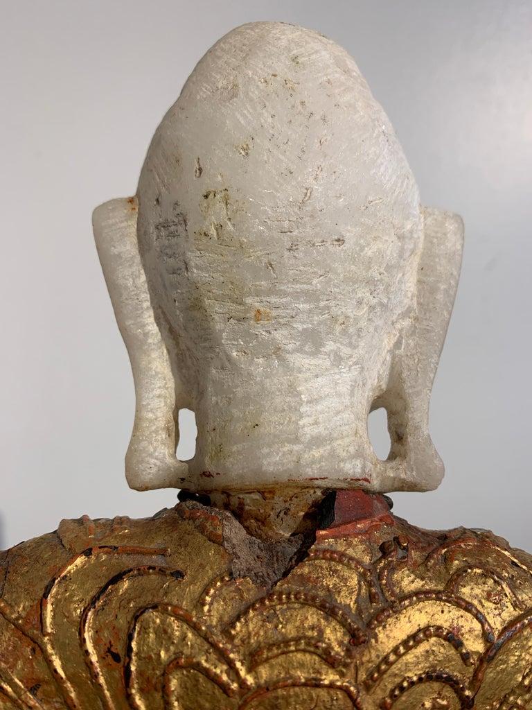 Burmese Mandalay Buddha in Royal Attire, Alabaster, Gilt Lacquer and Teak 7
