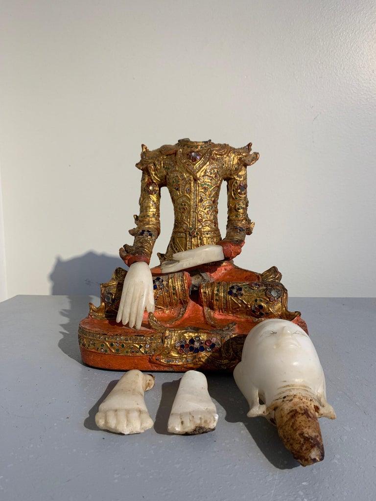 Burmese Mandalay Buddha in Royal Attire, Alabaster, Gilt Lacquer and Teak 9