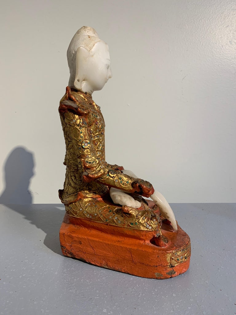 Hand-Carved Burmese Mandalay Buddha in Royal Attire, Alabaster, Gilt Lacquer and Teak