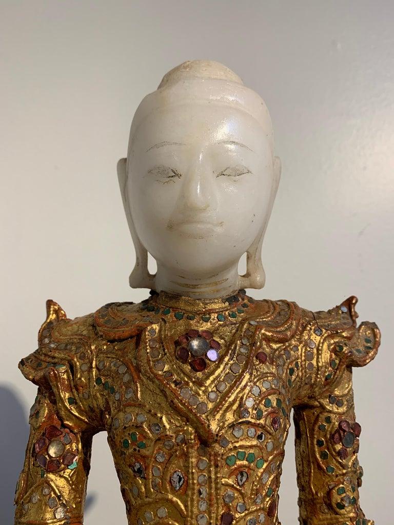 Burmese Mandalay Buddha in Royal Attire, Alabaster, Gilt Lacquer and Teak 1