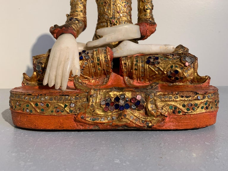 Burmese Mandalay Buddha in Royal Attire, Alabaster, Gilt Lacquer and Teak 4