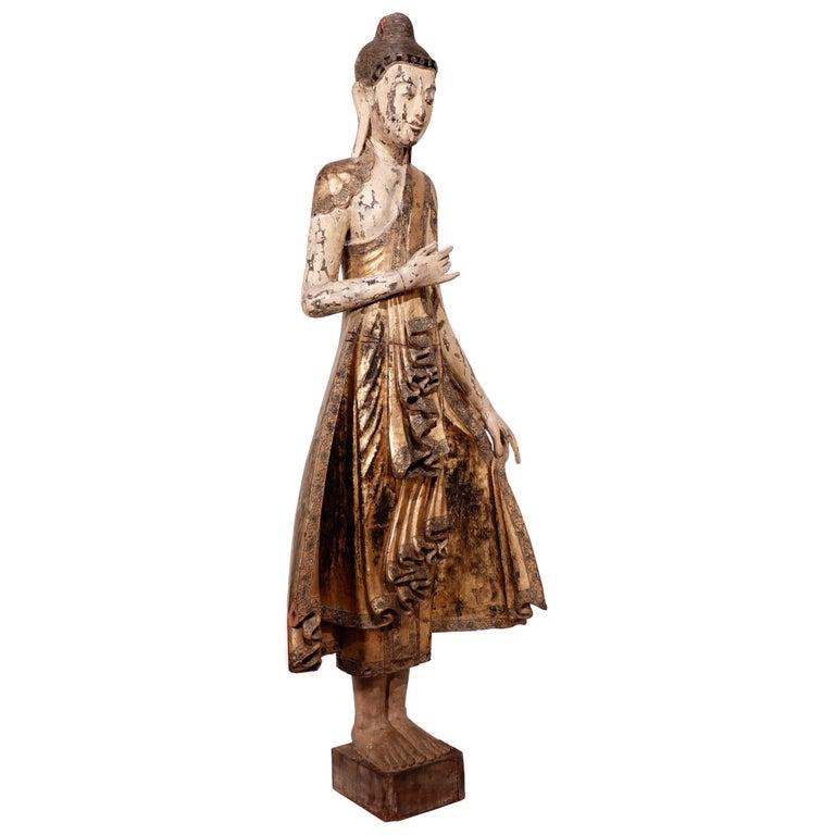 Gilt Burmese Mandalay Carved Wood Standing Buddha Figure For Sale
