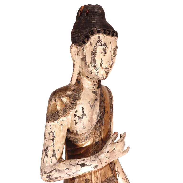 Burmese Mandalay Carved Wood Standing Buddha Figure In Good Condition For Sale In New York, NY