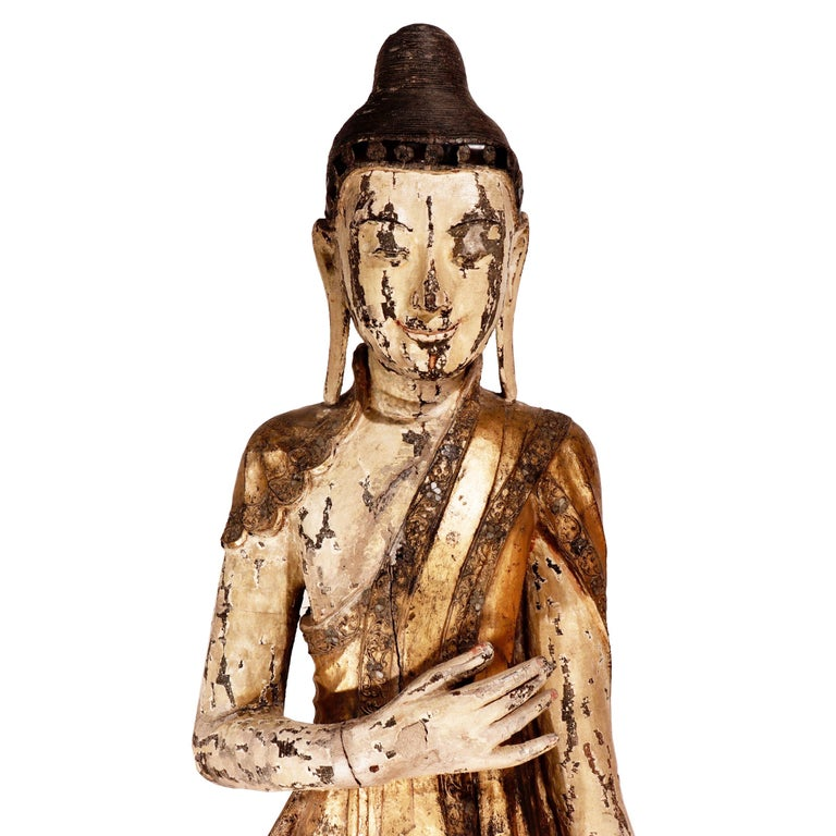 19th Century Burmese Mandalay Carved Wood Standing Buddha Figure For Sale