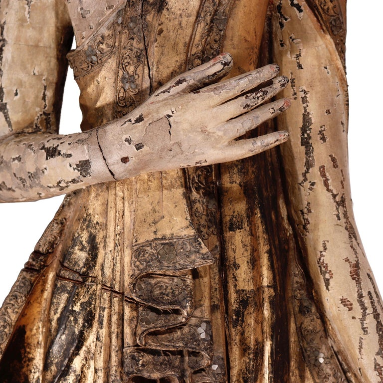 Burmese Mandalay Carved Wood Standing Buddha Figure For Sale 2