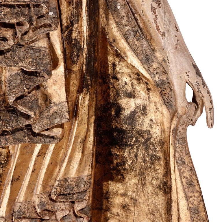 Burmese Mandalay Carved Wood Standing Buddha Figure For Sale 3