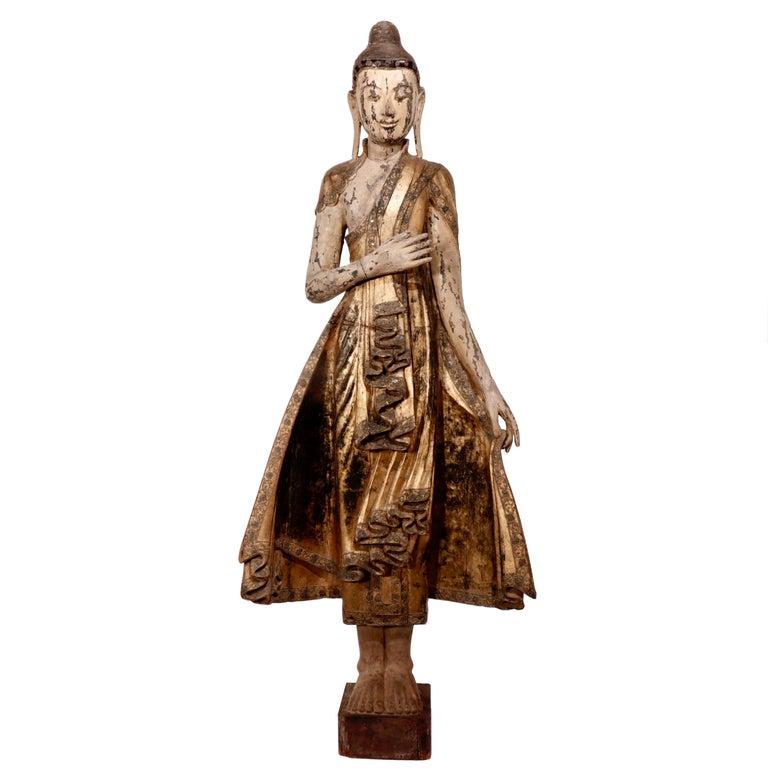 Burmese Mandalay Carved Wood Standing Buddha Figure For Sale