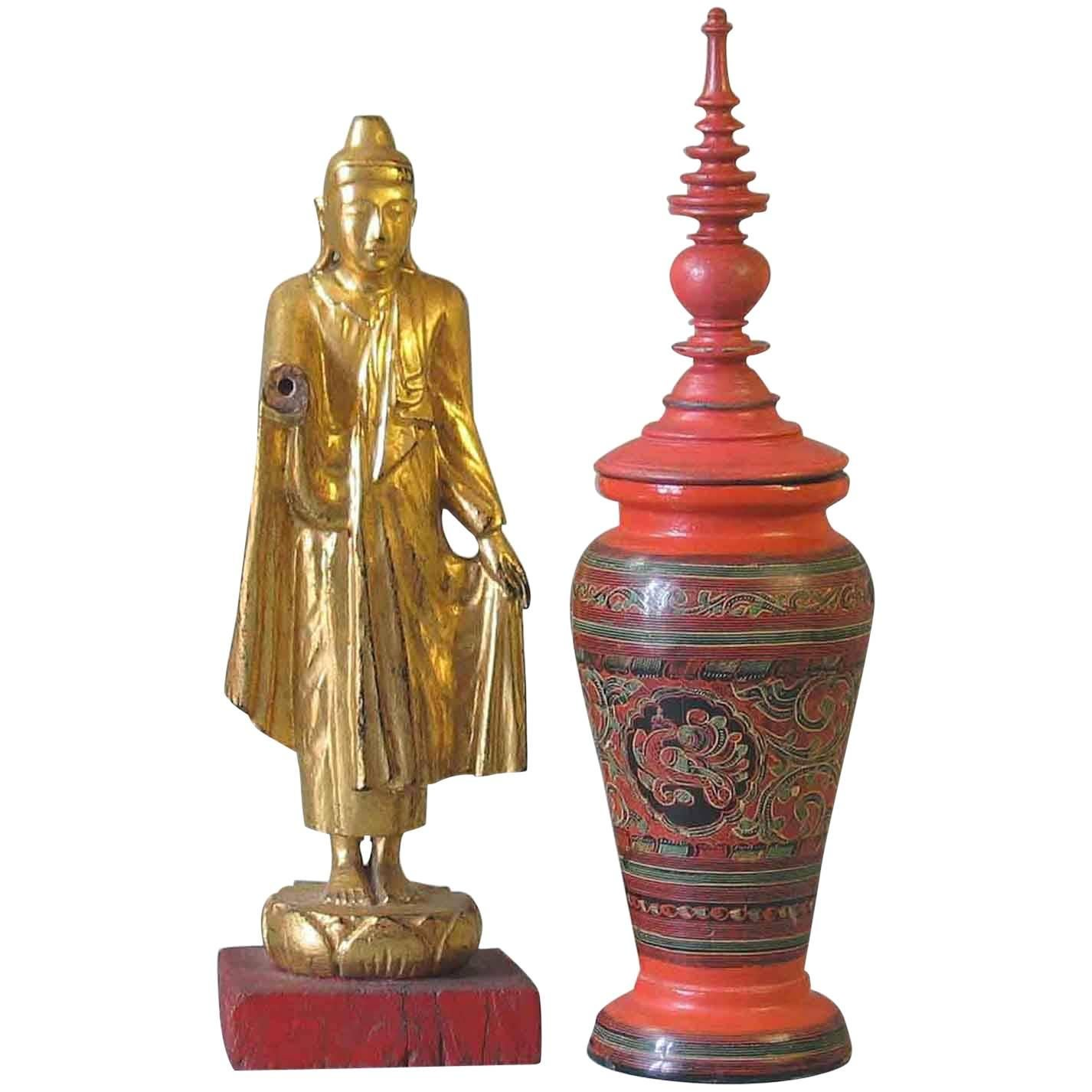 Burmese Mandalay Style Gilt Lacquered Buddha & Red Lacquer Covered Baluster Vase