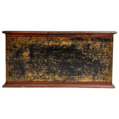 Burmese Manuscript Chest with Red Cinnabar Lacquer and Gold Leaf