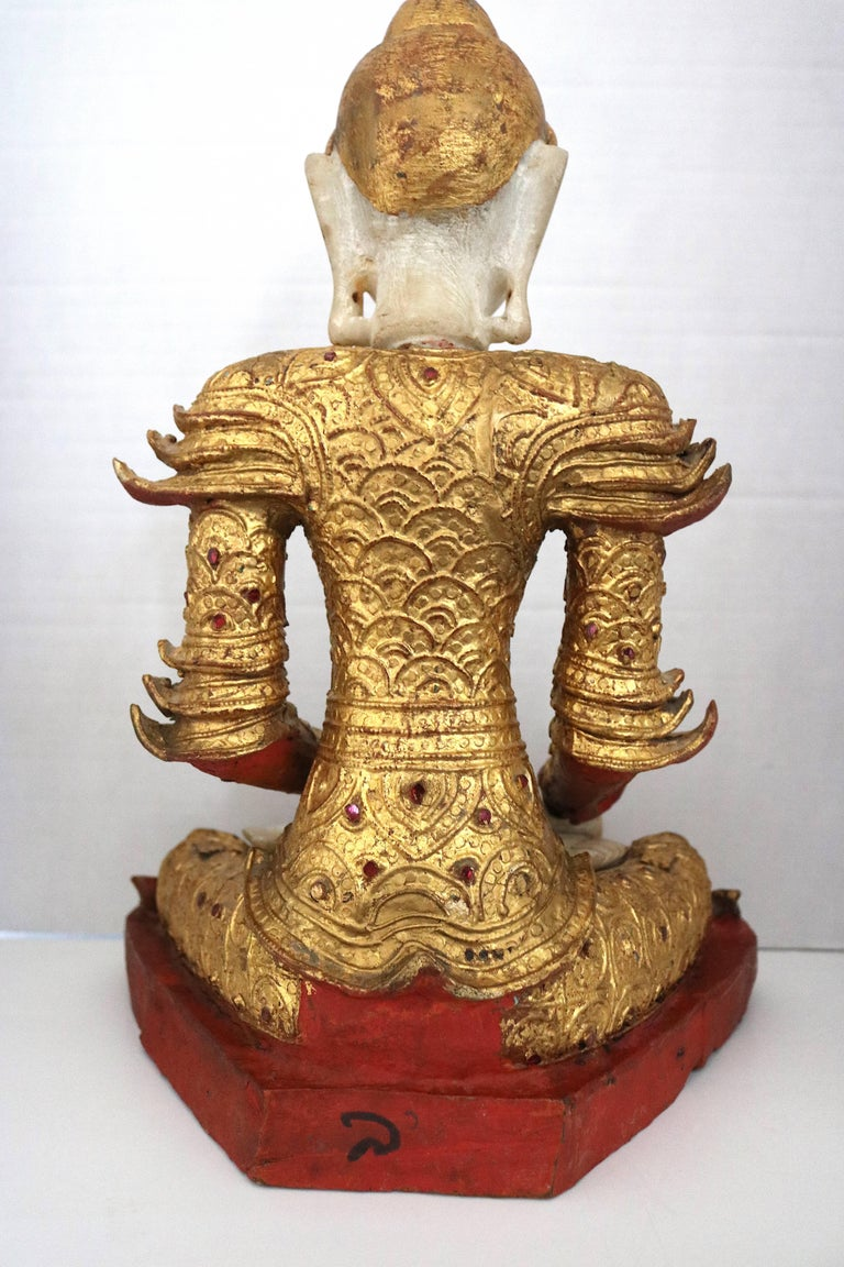 Hand-Carved Burmese Marble Giltwood Buddha in Royal Costume, circa 1800-1850 For Sale
