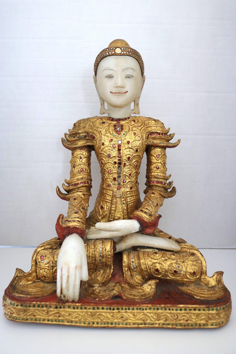 Qing Burmese Marble Giltwood Buddha in Royal Costume, circa 1800-1850 For Sale