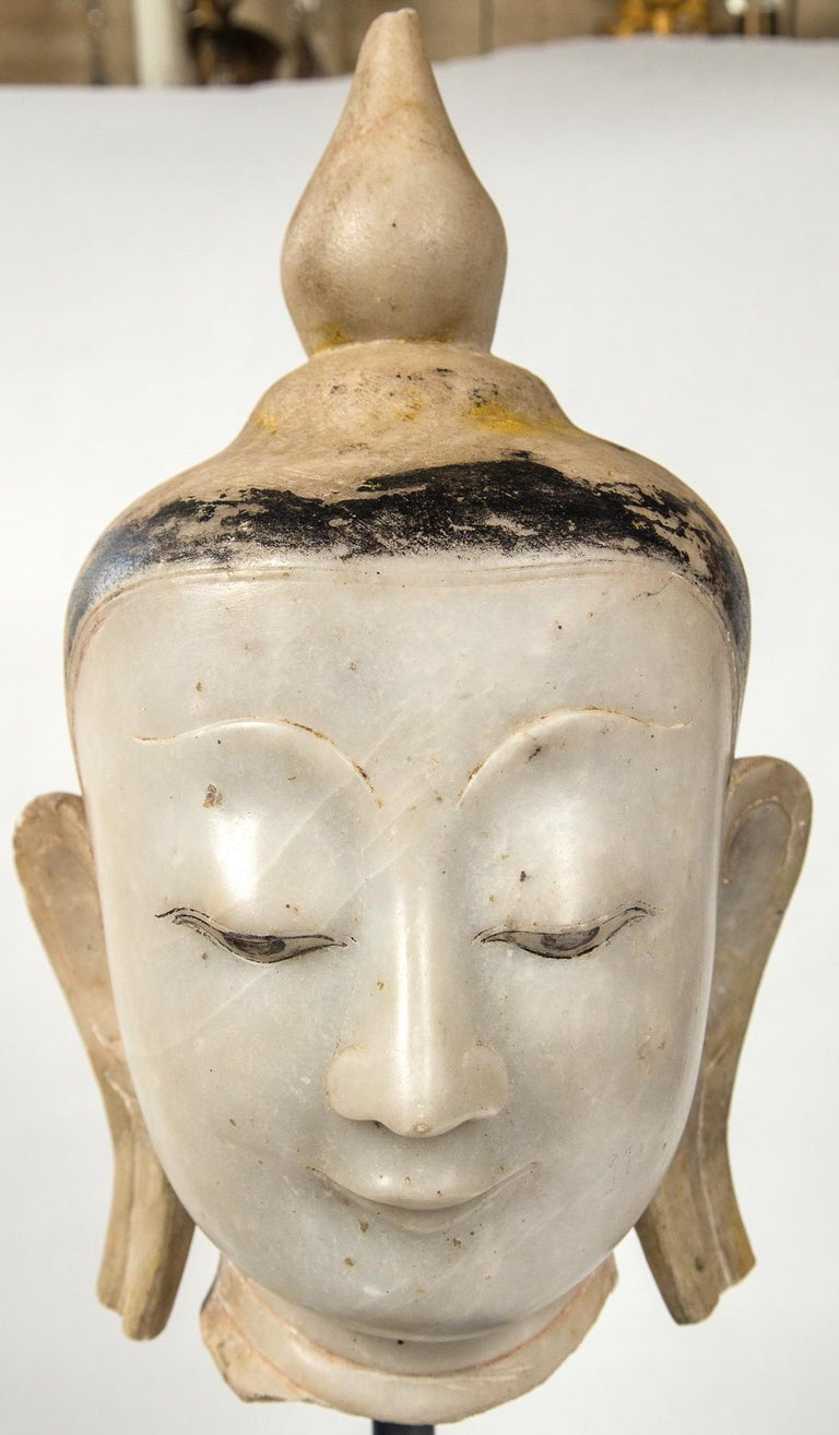 Hand-Crafted Burmese Marble Head of the Buddha For Sale