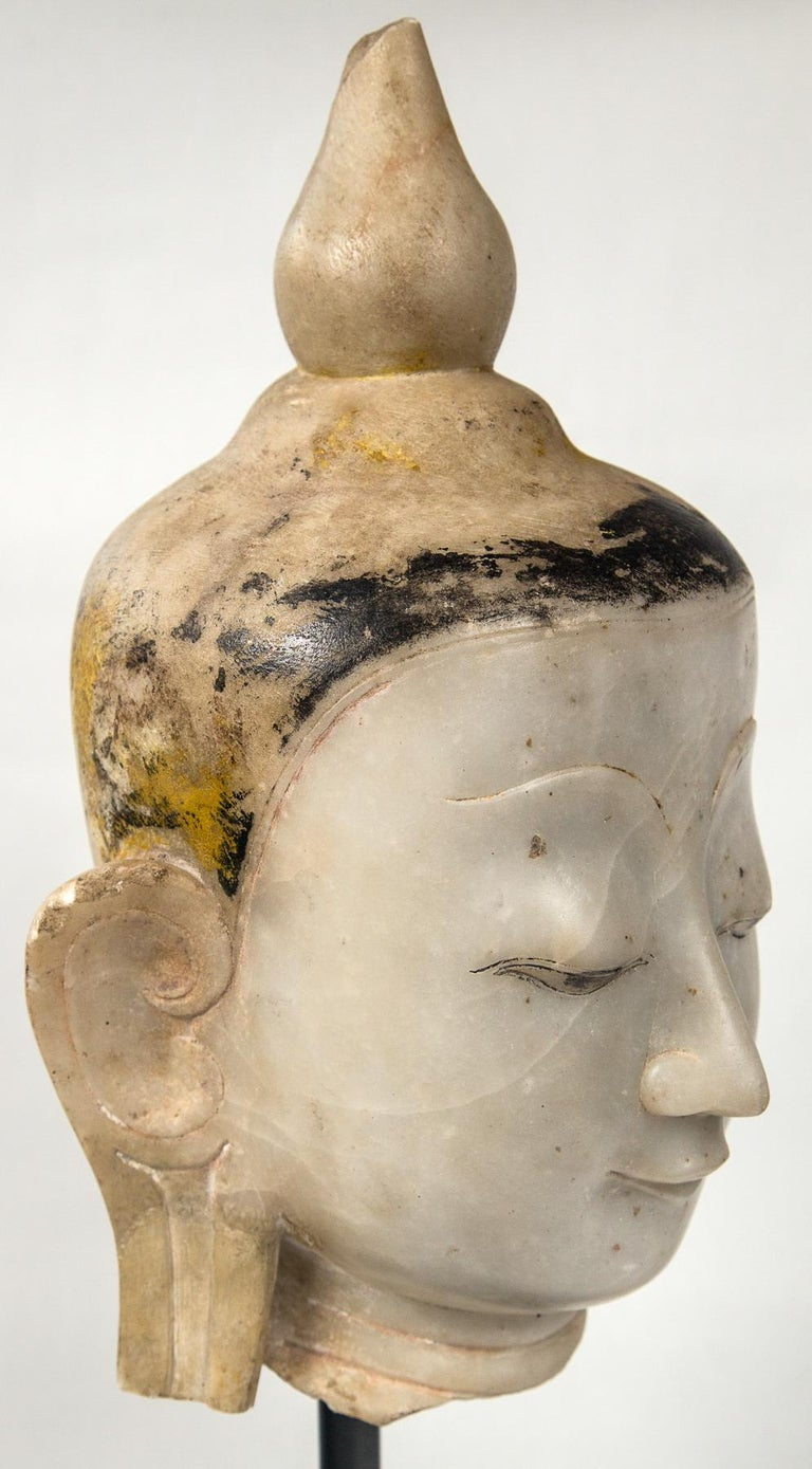 Burmese Marble Head of the Buddha In Fair Condition For Sale In Woodbury, CT