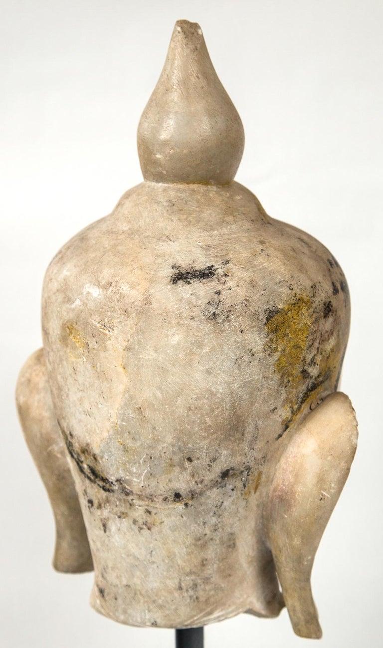 19th Century Burmese Marble Head of the Buddha For Sale