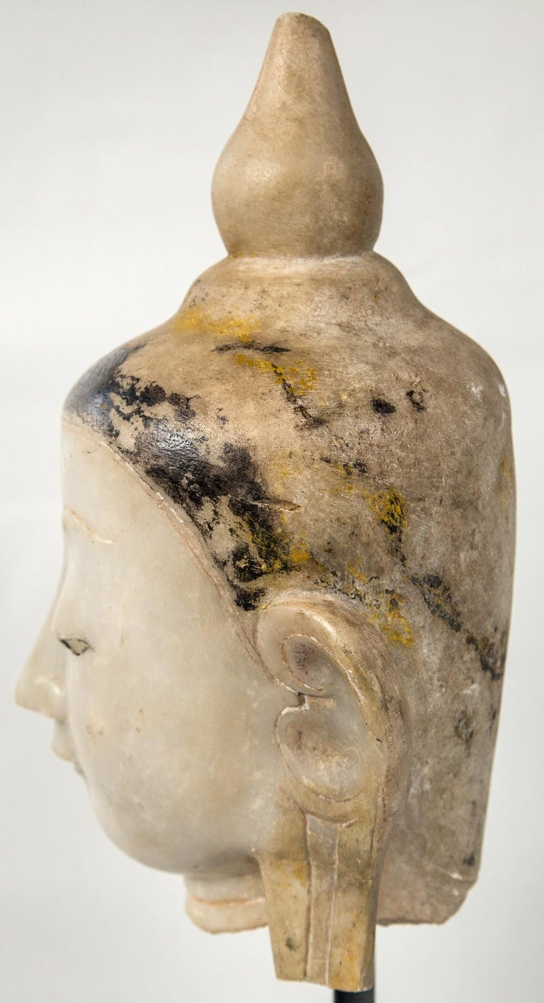 Burmese Marble Head of the Buddha For Sale 1