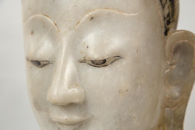 Burmese Marble Head of the Buddha For Sale 2