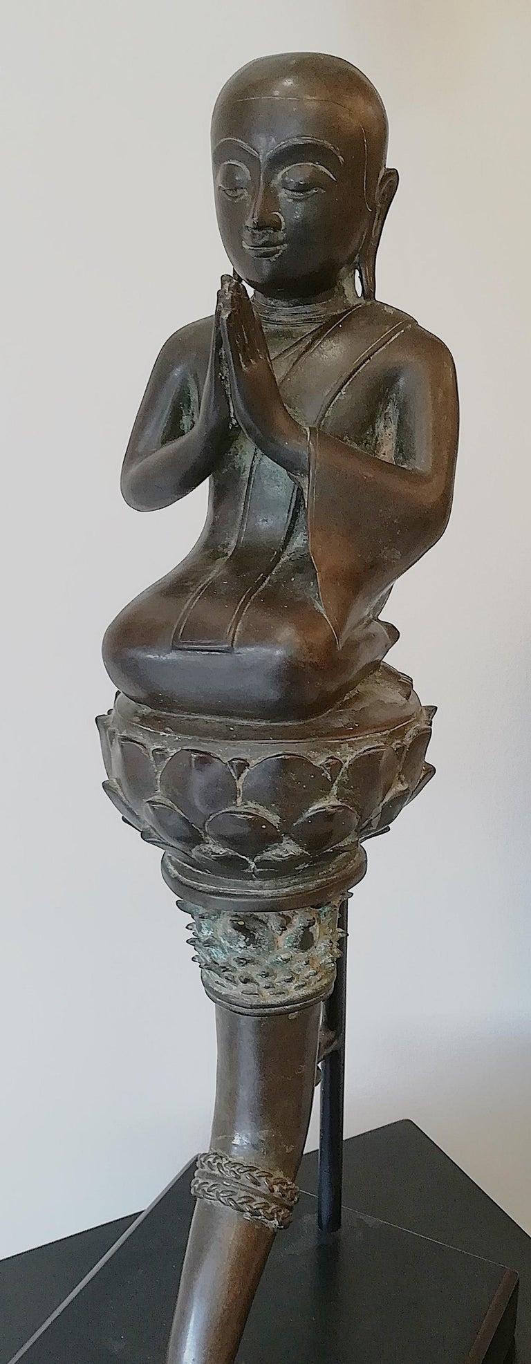 Burmese Monk in Bronze, 18th Century For Sale 10