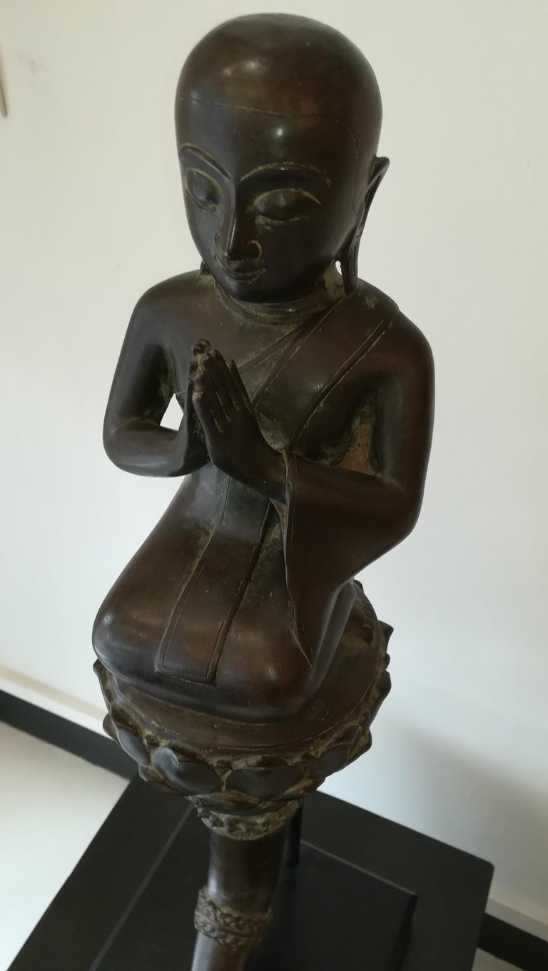 Central Asian Burmese Monk in Bronze, 18th Century For Sale