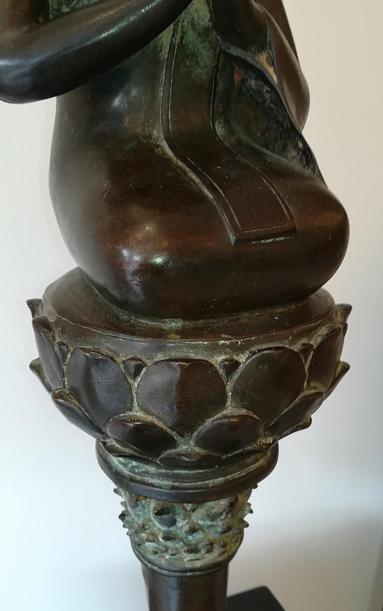 Burmese Monk in Bronze, 18th Century For Sale 1