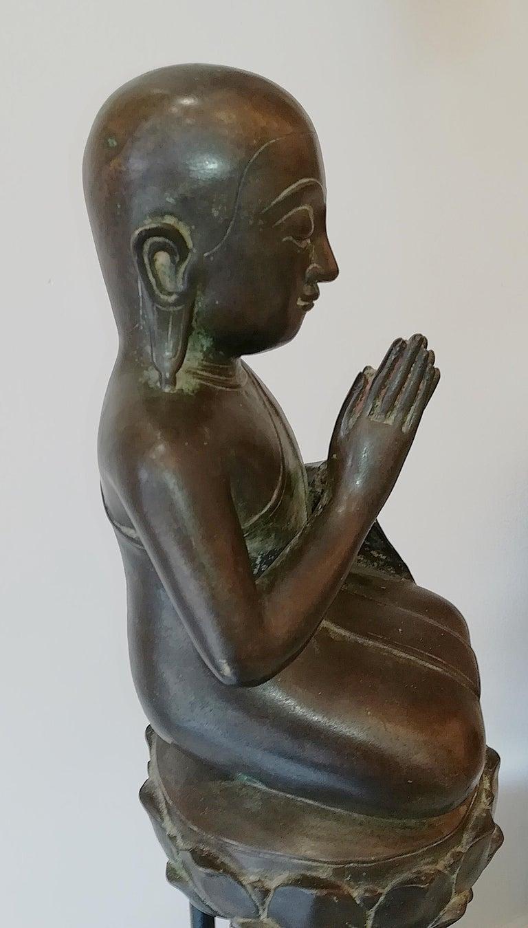 Burmese Monk in Bronze, 18th Century For Sale 3