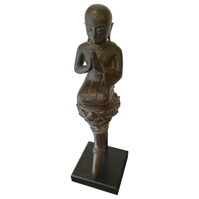 Burmese Monk in Bronze, 18th Century For Sale