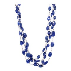 Burmese No Heat Sapphire Beads and Cultured South Sea Pearl 18K Gold Necklace