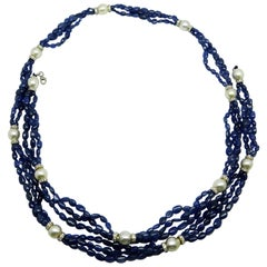 Burmese No Heat Sapphire Beads, Pearls, and White Diamond Gold Necklace