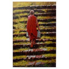 Burmese Oil Painting of a Monk Walking Up a Stair