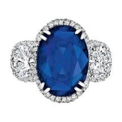 Burmese Oval Sapphire Diamond Ring, Gubelin Certified