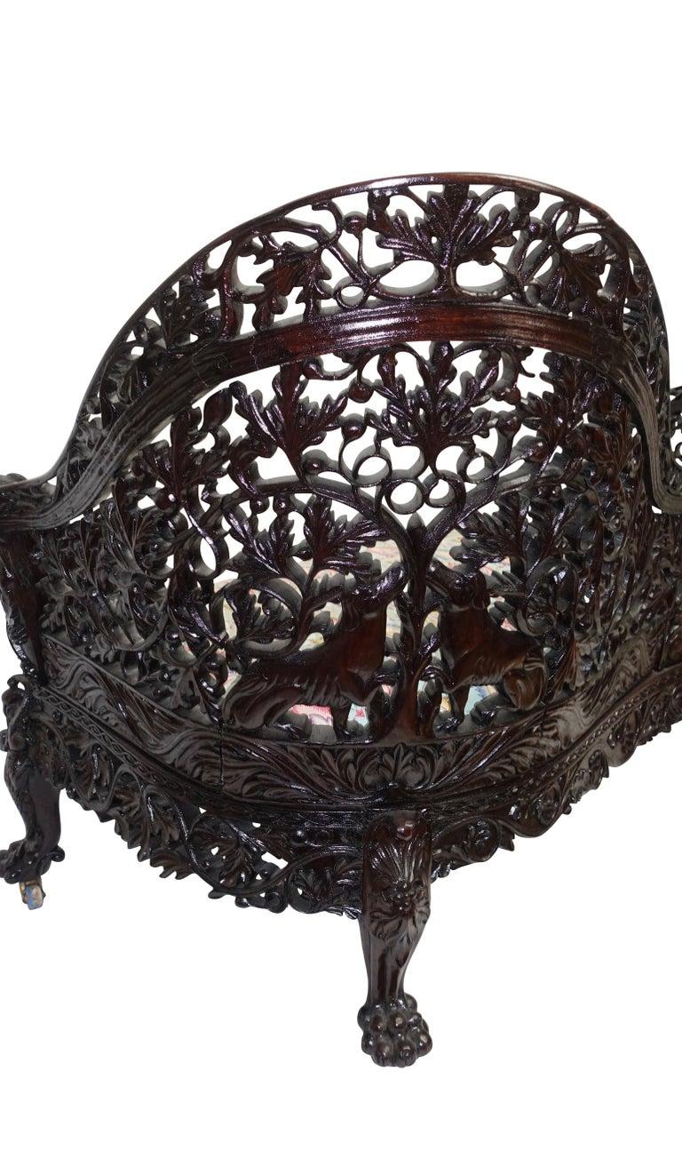Burmese Padouk Wood Carved Settee Sofa, Asian 19th Century For Sale 1